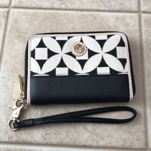 Spartina black cream print leather wallet purse